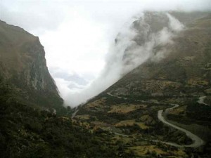 Cloud forests emerging from the mountain sides
