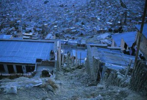 Dawn over the hillsides of La Paz (see Squatters story)
